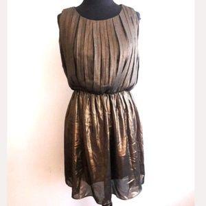 Ark & Co Gold/Black Shimmer Swing Dress Size Small